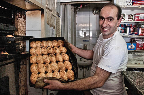 All in a day, or night's work.  Martin bakes some more pastizzi.