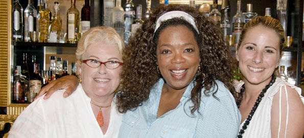 Oprah at Palazzo Parisio with owner Christiane Ramsay Scicluna & daughter Justine Pergola