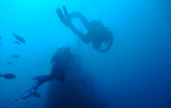 Into the deep blue yonder.  Wreck diving in Malta.