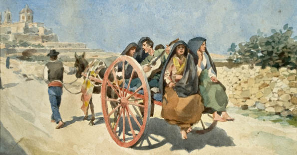 You'll still see these carts on Malta's roads, even if the dress has changed.  Painting: Edward Caruana Dingli