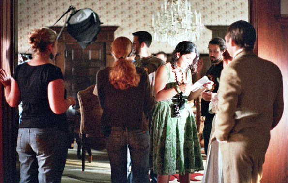 Rebecca Cremona and crew on the set of Magdalene