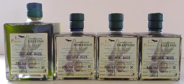 La Poiana monocultivar set of olive oils