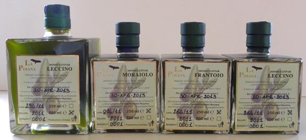 La Poiana monocultivar set of olive oils