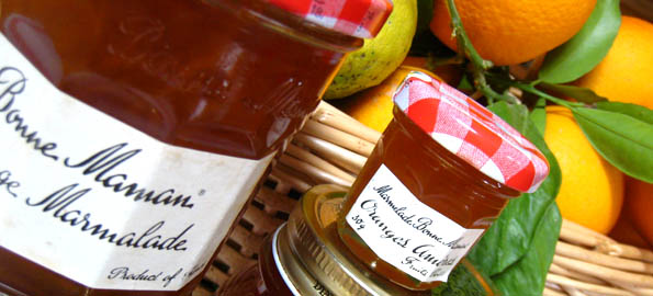 Shop-bought marmalade jars reused for the Real Thing, Malta style