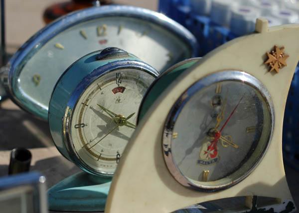 Retro clocks, Birgu flea market, Malta