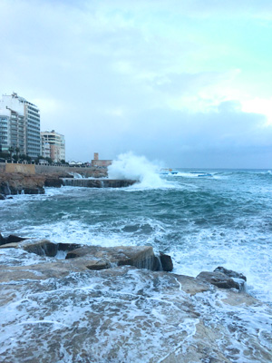 Tigne beach battered by winter waves