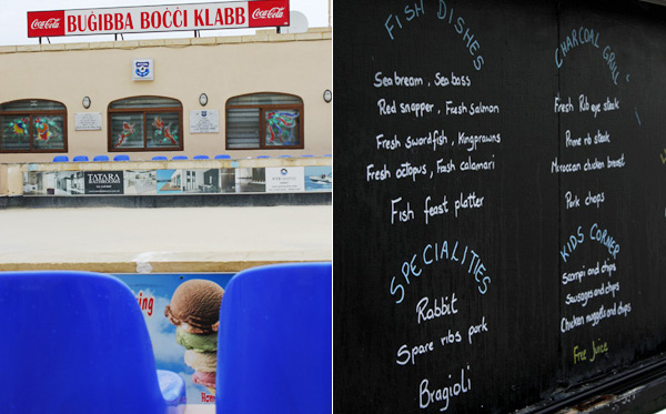 Bocci bar & a Bugibba Menu