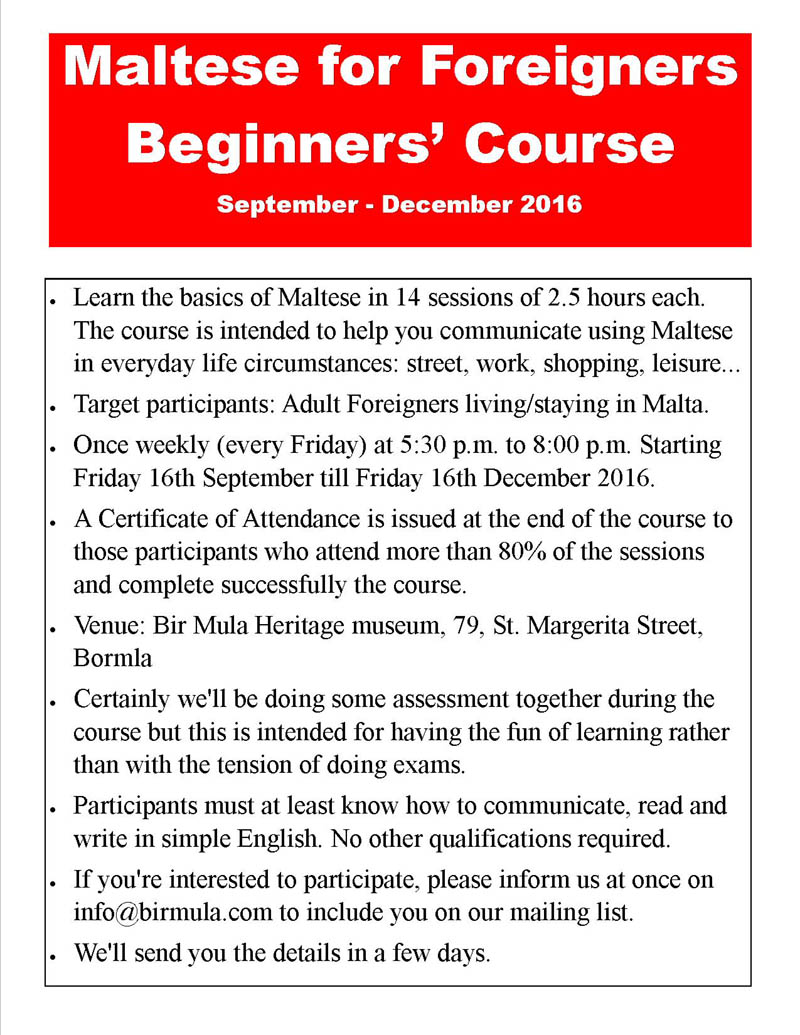 maltese for beginners course